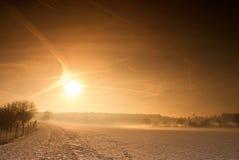 Coucher du soleil de l'hiver Photos libres de droits