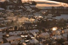Coucher du soleil de l'hiver Images libres de droits