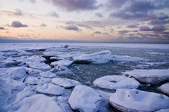 Coucher du soleil de l'hiver Image libre de droits