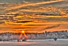 Coucher du soleil de l'hiver Images stock