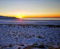Coucher du soleil de l'hiver photo libre de droits