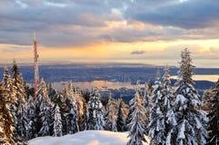 Coucher du soleil de l'hiver de montagne de grouse Photo libre de droits