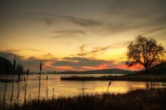 Coucher du soleil de l'hiver en Irlande Images stock
