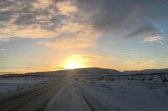 Coucher du soleil de l'Islande Images libres de droits