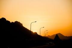 Coucher du soleil de l'Oman Images libres de droits