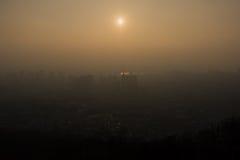 Coucher du soleil de la Corée Photographie stock libre de droits