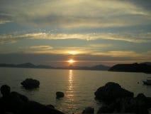 Coucher du soleil de la Croatie photo stock