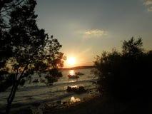 Coucher du soleil de la Croatie Photographie stock libre de droits