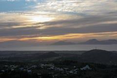 Coucher du soleil de la Grèce Photos libres de droits