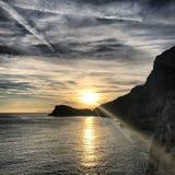 Coucher du soleil de la Ligurie Images libres de droits