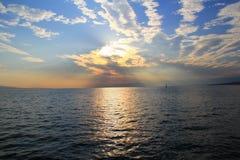Coucher du soleil de la mer Photos libres de droits