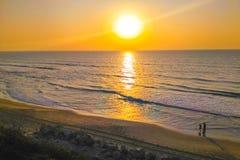 Coucher du soleil de la mer Méditerranée Image libre de droits
