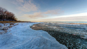 Coucher du soleil de la rivière Platte Image libre de droits