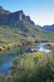 Coucher du soleil de la rivière Salt Image libre de droits