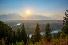 Coucher du soleil de la rivière Snake au Wyoming Photographie stock libre de droits