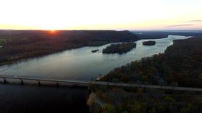 Coucher du soleil de la rivière Wisconsin Photographie stock libre de droits