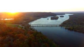 Coucher du soleil de la rivière Wisconsin Photographie stock
