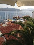Coucher du soleil de la Turquie Marmaris près de marina Photographie stock libre de droits