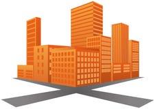 Coucher du soleil de la ville 3d Photos libres de droits
