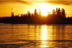 coucher du soleil de lac de glace Photographie stock