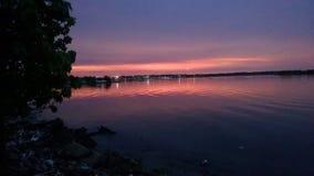 Coucher du soleil de lac de Maracaïbo images stock