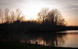 Coucher du soleil de lac Marlu Photos libres de droits