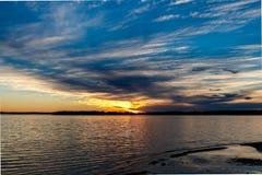 Coucher du soleil de lac oklahoma Images stock