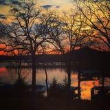 Coucher du soleil de lac rock de Tableau Photo libre de droits