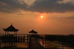 Coucher du soleil de lac Yangcheng Images stock