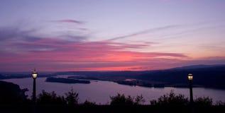 coucher du soleil de lampadaire Image stock