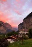 Coucher du soleil de Lauterbrunnen Images libres de droits