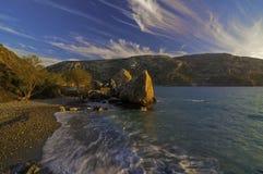 Coucher du soleil de Linaria, Kalymnos Grèce Photo stock