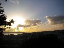 Coucher du soleil de Lisbonne Images libres de droits