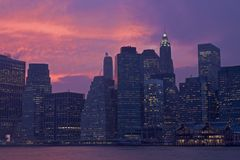 Coucher du soleil de Lower Manhattan Photographie stock libre de droits