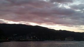 coucher du soleil de 7 lunes Images libres de droits