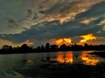 Coucher du soleil de ma tache de pêche Photographie stock libre de droits
