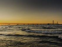 Coucher du soleil de Mackinac Photo stock