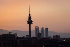 Coucher du soleil de Madrid Image stock