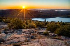 Coucher du soleil de Maine Images libres de droits