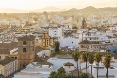 Coucher du soleil de Malaga, Espagne Photo libre de droits