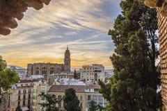 Coucher du soleil de Malaga, Espagne Photographie stock libre de droits