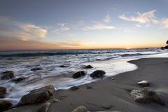 Coucher du soleil de Malibu image stock