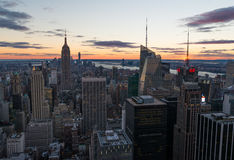 Coucher du soleil de Manhattan Photo stock