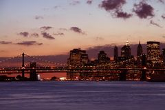 coucher du soleil de Manhattan Photos stock