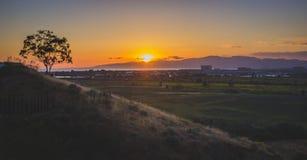 Coucher du soleil de marécages de Ballona Photo stock