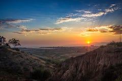 Coucher du soleil de marécages de Ballona Photographie stock libre de droits