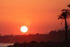 Coucher du soleil de Marbella Image libre de droits