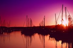 Coucher du soleil de marina Photo stock