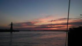 Coucher du soleil de marina Image stock