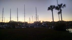 Coucher du soleil de marina Photos stock
